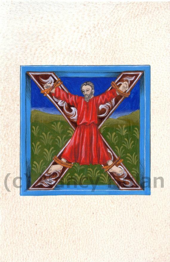 Lettrine Médiévale X Lettre De Lalphabet X Médiéval Peint Lettre X Peint Initial Renaissance Lettre Fine Art Print