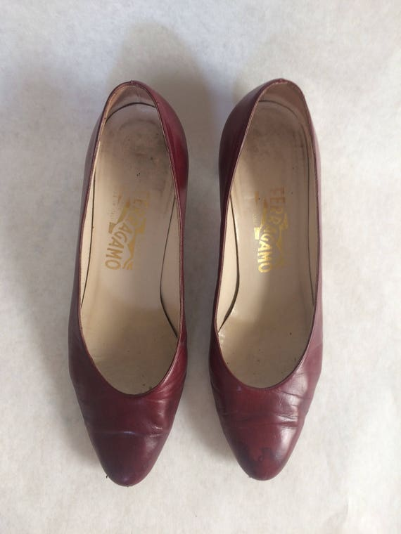 Burgundy Ferragamo pumps
