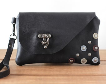 Black Leather Bag, Cell Phone Leather Purse, Wristlet Clutch, Small Leather Pouch, Leather Wristlet Wallet with Rivets, Genuine Leather Bag