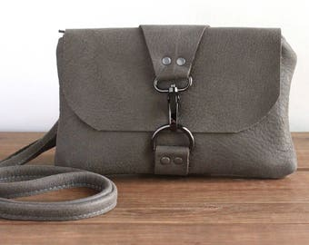 Leather Crossbody Bag, Distressed Gray Mini Crossbody Bag, Cross Body Purse, Minimalist Phone Clutch, Leather Pouch, Small Messenger