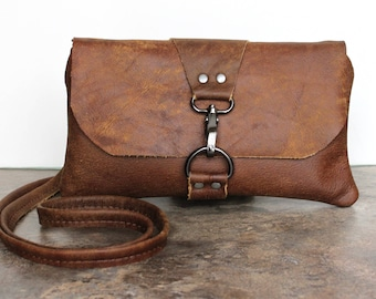 Brown Leather Crossbody Bag, Small Distressed Brown Leather Cross Body Bag, Weathered Leather Purse, Minimalist Clutch, Messenger Pouch