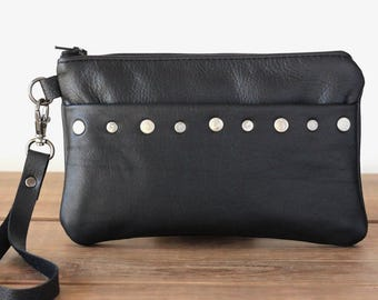 Wristlet Clutch, Minimalist Bag, Leather Phone Clutch with Rivets, Small Handbag, Leather Wristlet Wallet, Smartphone Wristlet Wallet,