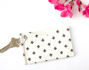 Minimalist Credit Card Holder, Slim Wallet, Card Case Wallet, ID Holder Keychain Wallet, Fleur de LIs Card Sleeve Wallet, Metro Card Holder
