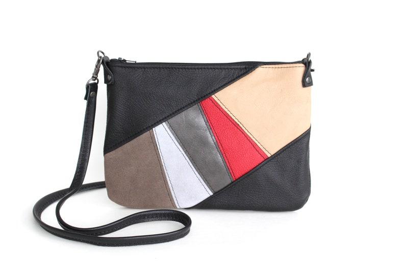 1bdd115f121 Ladies Leather Patchwork Crossbody Bag Boho Shoulder Purse | Etsy