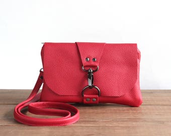 Red Leather Crossbody Bag, Festival Bag, Small Messenger Bag, Mini Leather Cross Body Purse, Minimalist Phone Clutch, Leather Pouch