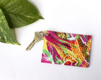 Card Holder Keychain, Student ID Holder Wallet, Gift for Her, Colorful Keychain, Slim Credit Card Holder, Tie Dye Card Sleeve
