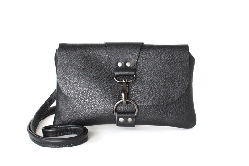 9fde2650 Small Black Leather Crossbody Bag, Mini Cross body Festival Bag for Women,  Minimalist Clutch