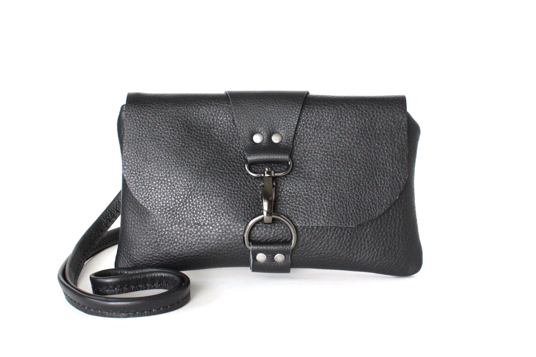 baa1a0ee2b6 Small Black Leather Crossbody Bag, Mini Cross body Festival Bag for Women,  Minimalist Clutch