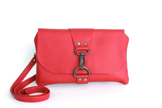 7bf1bdb60998 Small Red Leather Crossbody Bag Music Festival Bag Mini
