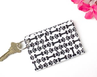 Dog Lover Keychain Wallet, Puppy Paw Wallet, Dog Walker Gift, Minimalist Credit Card ID Holder Wallet, Card Sleeve Wallet, Card Holder