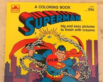 Superman Coloring Book~Vintage 1983~DC Comics~NEVER USED~Golden Books~Free Shipping