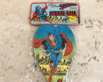 Vintage Superman Paddle Ball~1987~DC Comics~Super Friends~Never Opened~Superheroes~Free Shipping~L@@K