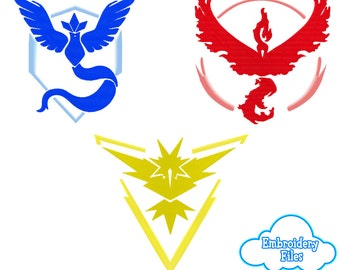 EMBROIDERY FILES: Pokemon GO Team Emblems (Mystic, Valor, Instinct) - Embroidery Machine Design