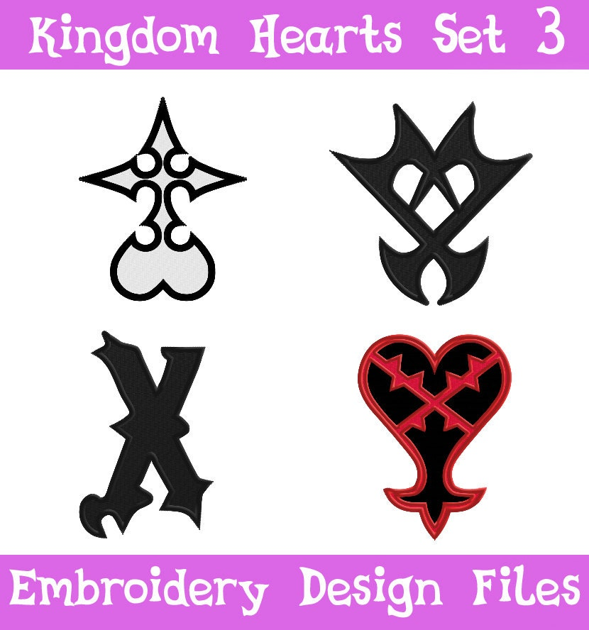 Pes Files Kingdom Hearts Symbol Set 3 Embroidery Machine Etsy