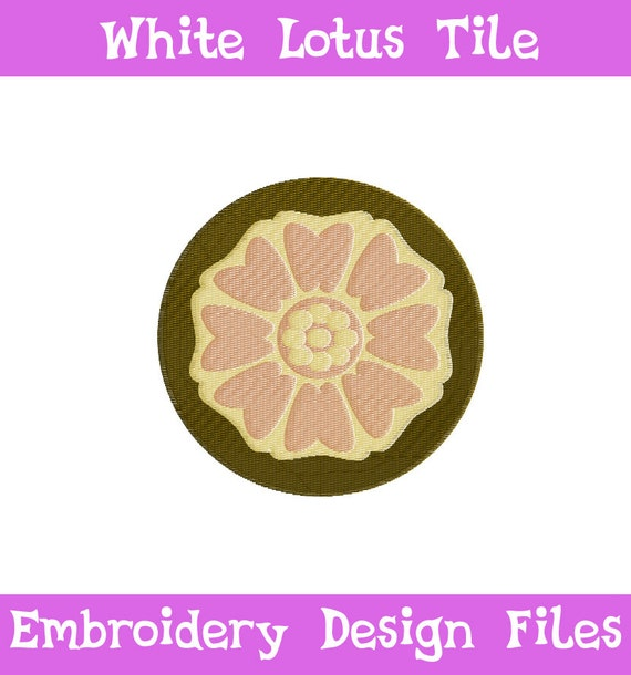 Embroidery Files White Lotus Tile Symbol Atla Embroidery Etsy