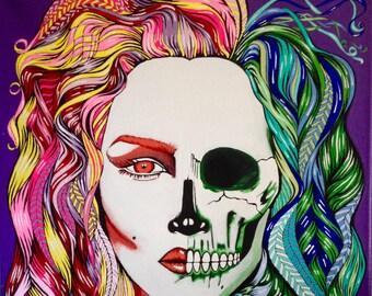 16x20 Woman & Skull Original Canvas Painting