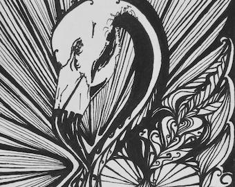Original 9x6 Drawing - Flamingo