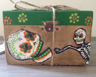 Hand Painted Day of the Dead Wooden Box - Skull skeleton Dia de los Muertos green and gold with flowers