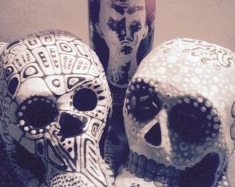 Bride and Groom Wedding - 2- One of a Kind Sugar Skulls Hand painted Dia de los Muertos Wedding Set Day of the Dead