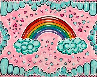 8x10 Rainbow Original Canvas Painting