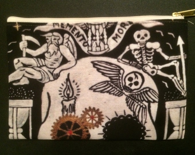 Featured listing image: Canvas Bag Make up Bag  - Skull skeleton Dia de los Muertos Day of the Dead Zipper 6 x 9 6x9 inches