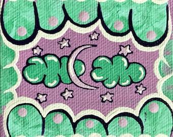 3x3 Pastel Moon & Stars Original Canvas Mini Painting
