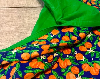 Blanket Comforter Throw Oranges Green Fruit Tropical Flannel Plants Colorful Soft Quilt Bedding Twin Full Queen Pillow