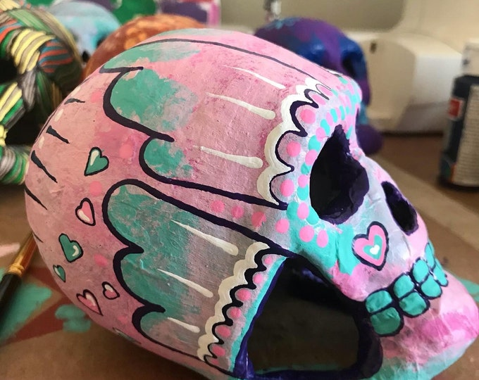 Featured listing image: Dia de los Muertos Day of the Dead paper mache sugar skull hand painted