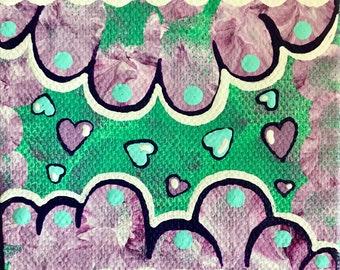 3x3 Pastel Hearts Original Canvas Mini Painting