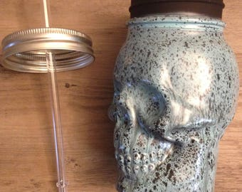 Hand Painted Day of the Dead Glass Cup - Skull skeleton Dia de los Muertos Glass Cup with Straw To Go Mug Thermos