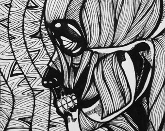 Original 9x6 Drawing - Dia De Los Muertos Man with no skin