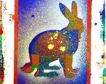 SALE 8x10 Rabbit Original Canvas Painting