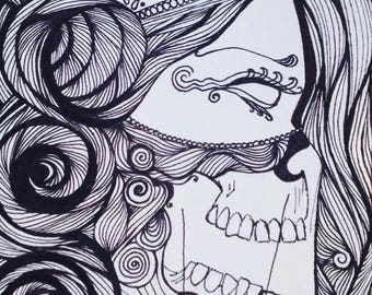 Original 9x6 Drawing - Dia De Los Muertos Skull woman