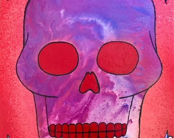 SALE 8x10 Skull Original Canvas Painting