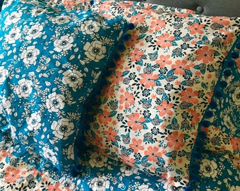 Blanket Comforter Throw Flower Floral Blue Orange Coral Colorful Soft Quilt Bedding Twin Full Queen Pillow