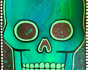 SALE 5x7 Skull Original Canvas Painting