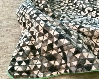 Blanket Comforter Throw Geometric Fleece Boy Gender Neutral Gray Grey Green Soft Quilt Bedding Twin Full Queen Pillow