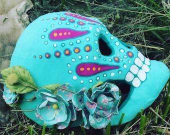 Dia de los Muertos Day of the Dead paper mache sugar skull hand painted