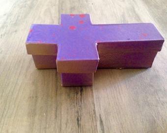 1 Painted Paper Mache Cross Box Christian Catholic Voodoo Vodun Halloween