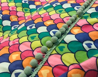 Blanket Comforter Throw Hearts Pink Yellow Blue Rainbow Mermaid Scales Colorful Fleece Faux Fur Soft Quilt Bedding Twin Full Queen Pillow