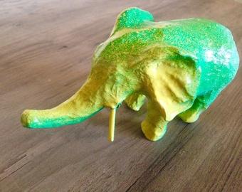 1 Painted Paper Elephant Ganesh Wisdom Nature Blue Green Yellow