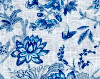Linen Curtains Waverly Lucchese Cielo Panel Valence Long Adjustable Blue Bird Flowers Floral Cotton Drapes Window Blackout Heavy Off White