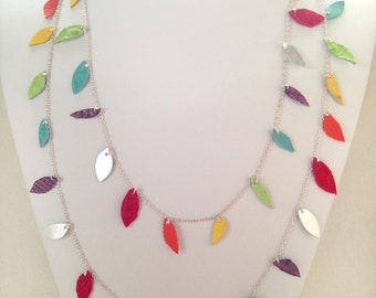 Rainbow Leather Leaf Necklace