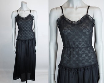 bbebb8fe99 Vintage 80s Nightgown   1980s Black Nylon and Lace Night Gown S