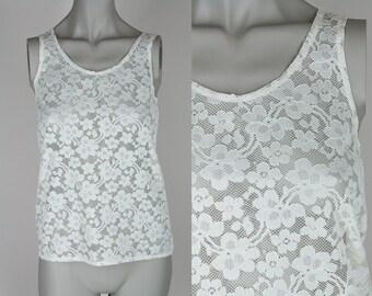 Vintage 80s Shirt / 1980s Sheer White Lace Loose Tank Top XS