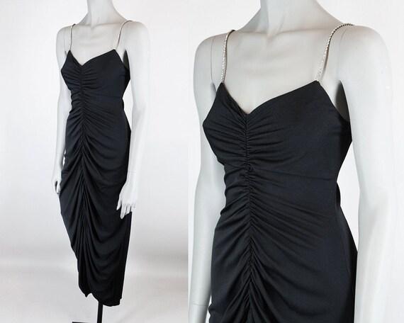 Vintage 70s Dress 1970s Black Nylon Draped Disco Dress With Etsy