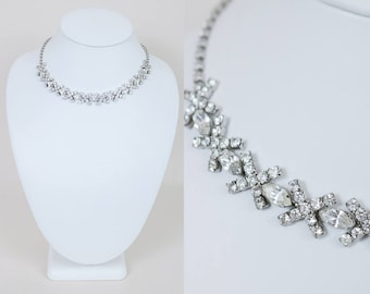 Vintage 60s Necklace / 1960s High End Rhodium Plated Clear Rhinestone X Choker