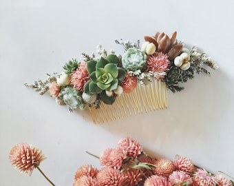 Succulent Hair Comb // Green and Pink