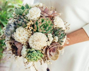 Succulent & Sola Bouquet // Bridal Bouquet