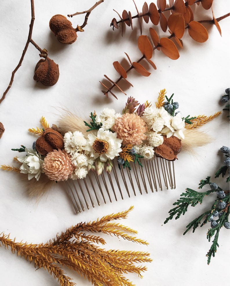 Hair Comb // Autumn Blush // Dried Flowers image 0